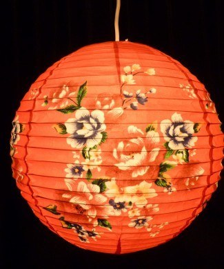 Lantern - Red Floral Paper