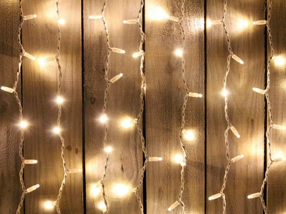 LED Curtain Fairy Lights 2m x 2m on white rubber wire
